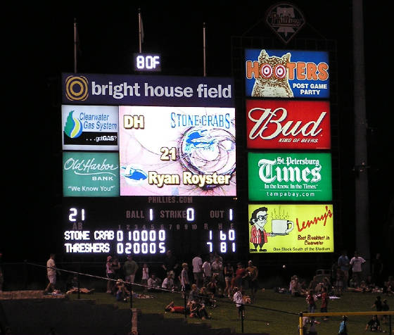 Bright House Field's Scoreboard - Clearwater, Fl